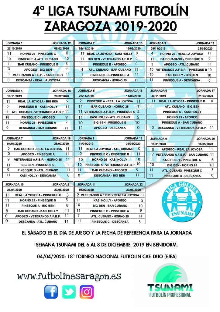 Calendario Liga Tsunami ZARAGOZA 19-20 modi