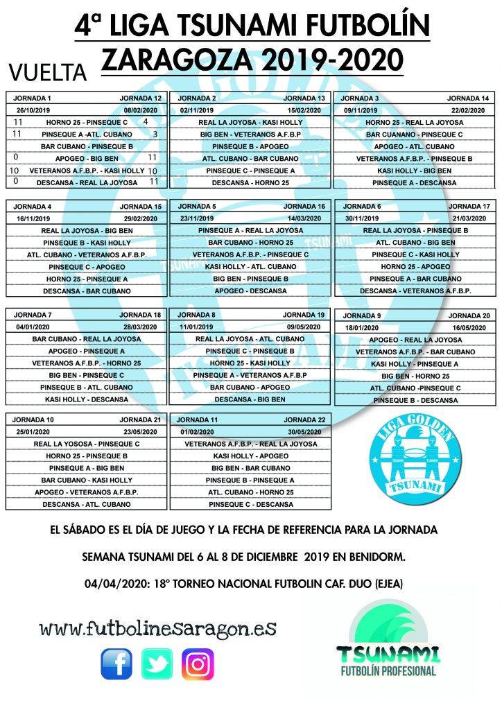 vuelta Calendario Liga Tsunami ZARAGOZA 19-20 modi