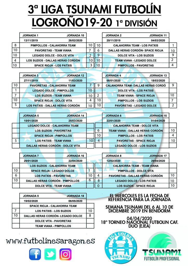 Calendario Liga LOGROÑO 1 DIVISION 19-20 modi
