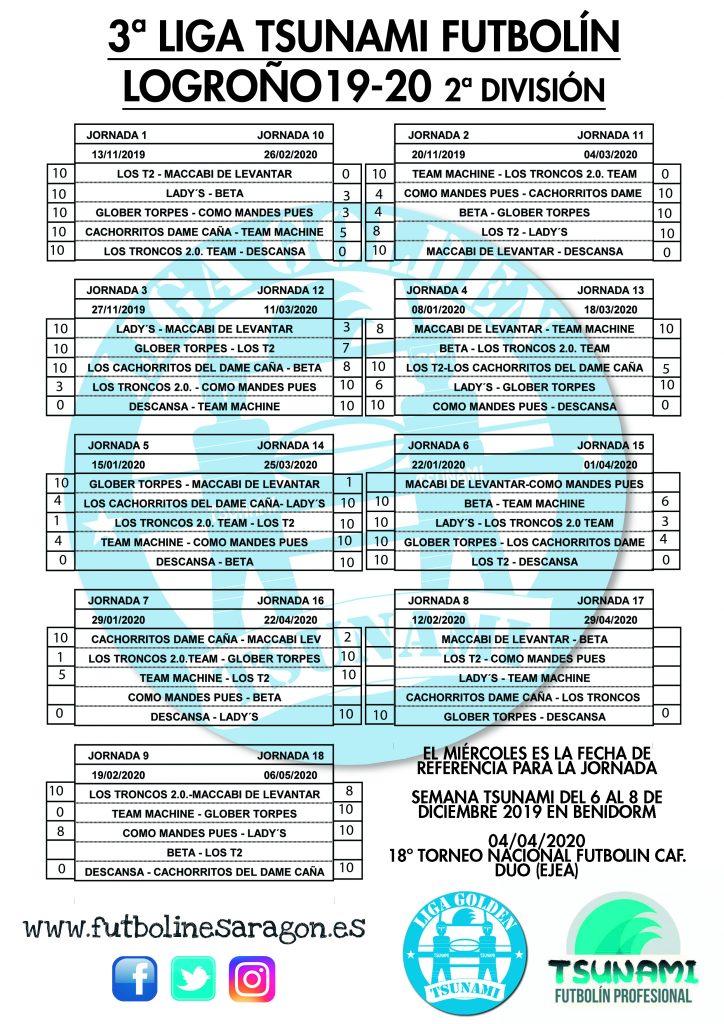 Calendario Liga LOGROÑO 2 DIVISION 19-20 modi