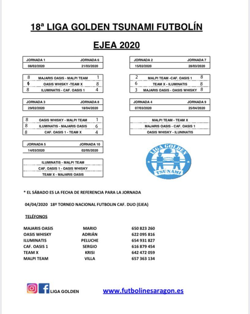 calendario Liga Ejea 2020 modi